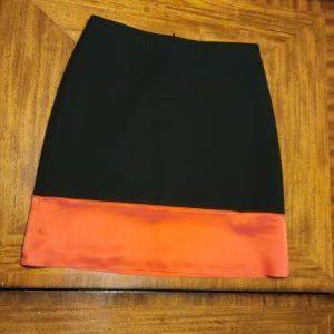 Ann Taylor Black and Orange A-Line Skirt